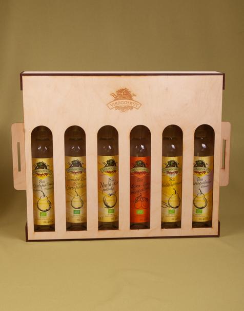 6 db-os Virágoskúti pálinka válogatás, díszdobozban (6x500ml)