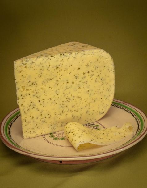 Bio érlelt félkemény sajt -medvehagymás-